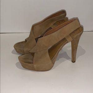 """DVF """"Zia"""" Beige Suede Heels Size 9.5"""